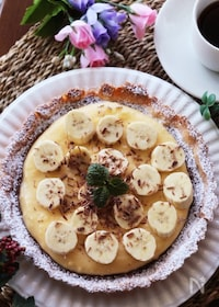 『バレンタインに♡カスタードバナナのチョコレートケーキタルト』