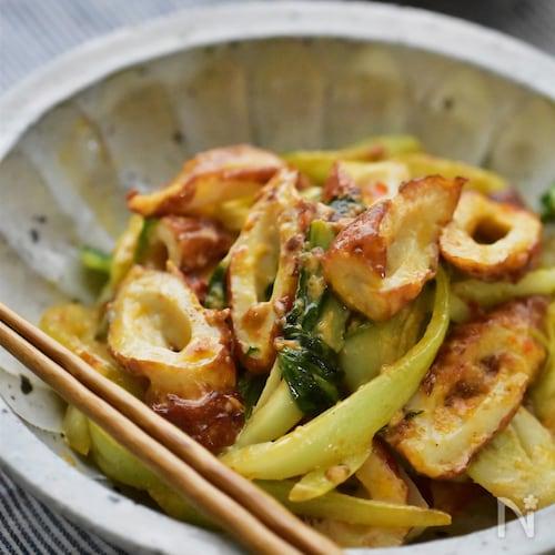 【5分】いつでも食べたい♪ちくわと青梗菜のピリマヨ炒め