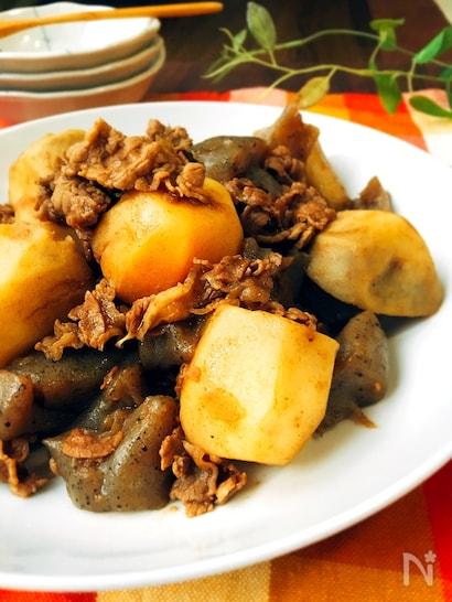 ゴロゴロとしたサトイモと牛肉とこんにゃくの煮物