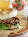 きんぴらライスバーガー。牛肉とごぼうのきんぴらをアレンジ!