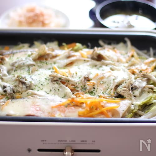 BRUNOで作る。 秋サケとたっぷり野菜のチーズ蒸し