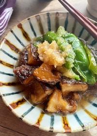 『椎茸とピーマン唐揚げのみぞれ煮』