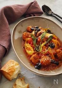 『春キャベツとミートボールのトマト煮』