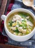 キャベツとひき肉のかき玉とろみスープ【#とろみづけ不要】
