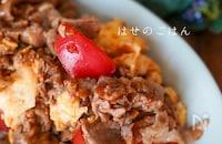 栄養満点♡豚肉とトマトとふんわり卵のオイスターソース炒め♪