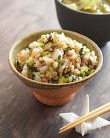 小松菜と海老の混ぜごはん