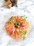 柿とサーモンのカルパッチョ