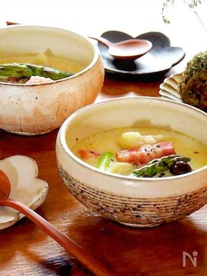 ホッと温まる!佐賀県産アスパラとベーコンのミルクスープ