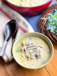 体ぽかぽか♡白菜と豚肉のごま豆乳スープ