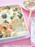 鶏のささみとブロッコリーのガラムマサラ風味ペンネグラタン