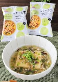 『玉子豆腐のもち麦スープ餡掛け』