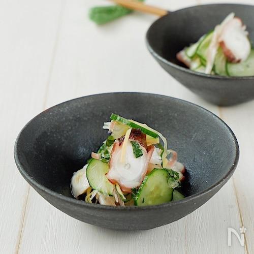 香味野菜たっぷり!きゅうりとタコの酢の物