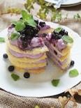 レンジde簡単♪ブルーベリーシロップ漬けレイヤーチーズケーキ