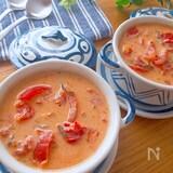 意外な組み合わせが旨ウマ♡トマト塩昆布豆乳スープ