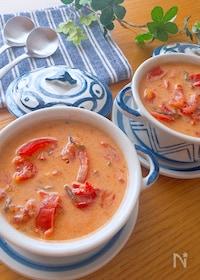 『意外な組み合わせが旨ウマ♡トマト塩昆布豆乳スープ』