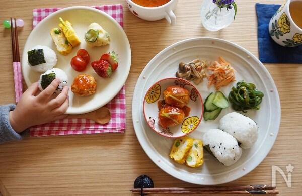 【朝ごはんカタログ】子ども用のパパッと朝食&常備菜で作る彩ワンプレート~料理家さん家の朝ごはん~
