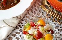 カレーのお供・調味料不要「ミニトマトとオクラのサラダ」