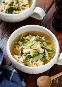 『豆苗とキャベツのかき玉スープ【#包丁不要】』
