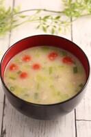 腸活!葱野菜とオートミールのお味噌汁