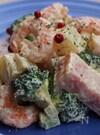 エビ、ベーコン入り温野菜マヨタラマスタードソース