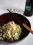 塩もみキャベツと茹で豚と桜えびのサラダ 柚子風味