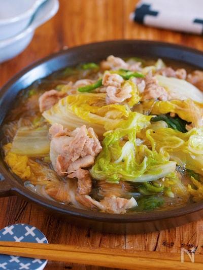 重ねて放置 包丁不要 豚バラ白菜とはるさめの上海風とろみ煮 By