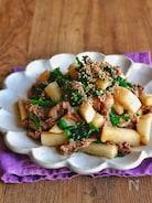牛肉と長芋とほうれん草のオイスター炒め