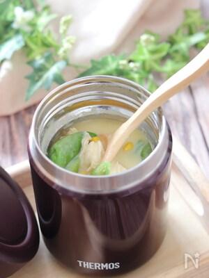 ささ身とスナップえんどうの中華コーンクリームスープ