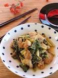 鶏肉と小松菜の甘酢炒め