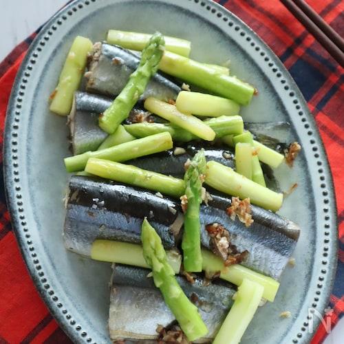 秋刀魚とアスパラの薬味蒸し