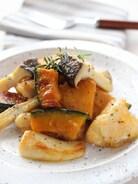鶏肉とエリンギ、かぼちゃのガリバタしょうゆ炒め