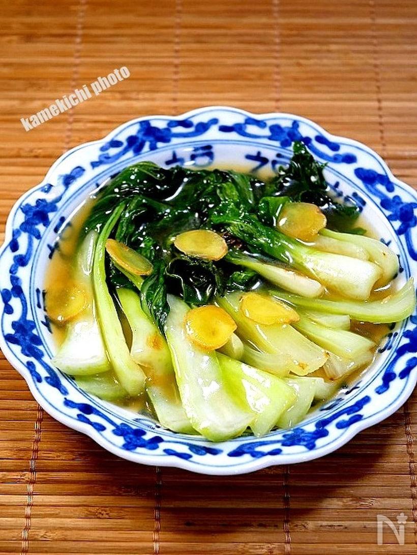 スープたっぷりのチンゲン菜の生姜炒め