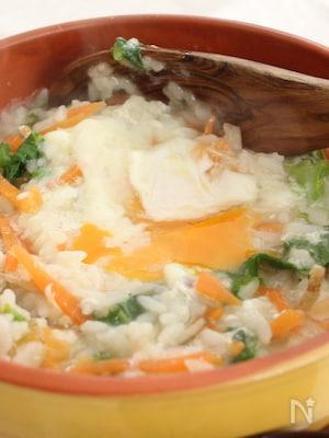 野菜と半熟卵のおじや
