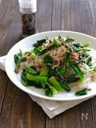 小松菜とひき肉の旨塩春雨炒め