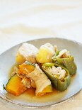 巻いたり詰めたり薄切り肉と野菜の生姜醤油煮