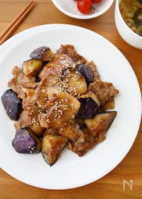 『『片手に白米!豚肉となすの生姜焼き』#ご飯が進む#どんぶり』