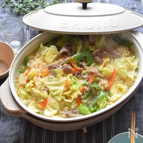 野菜炒めラーメン鍋*野菜を美味しく沢山とれる!