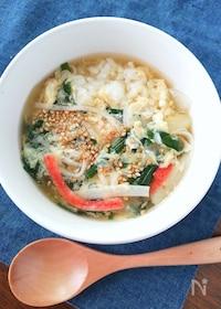 『これ1品で栄養満点☆簡単すぐ出来る!かにかまニラ玉スープご飯』