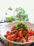 【らくレピ】カリッと豚こまとトマトの中華風マリネ