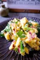 ホクホクで止まらない!さつま芋と小松菜かき揚げ