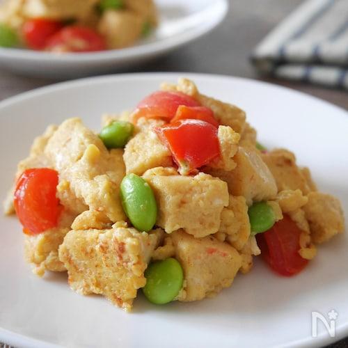 高野豆腐のカラフル卵炒め