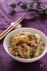 シャキシャキ豆苗と豚ひきザーサイの炊き込みご飯