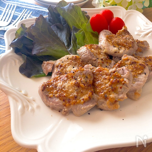 トースターで簡単・美味♡豚ヒレ肉のハニーマスタードチーズ焼き