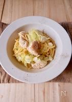 【レンジで作る】春キャベツとチキンのスープパスタ#ノンオイル