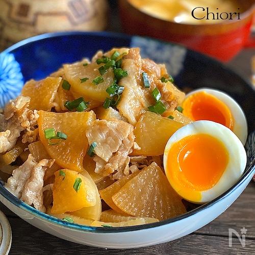 炒め煮5分で♩こってり豚バラ大根