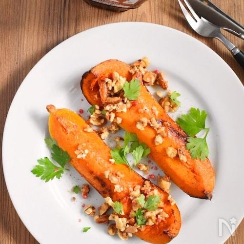 野菜でご馳走!メープルナッツかぼちゃソテー