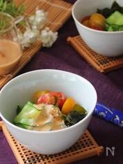 つるんときゅうり麺のごま坦々サラダ