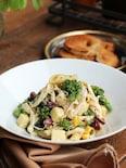 蒸し鶏と菜の花の作りおきパスタ