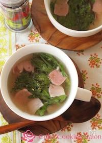 『だし香る ベーコンと春菊の和風スープ』