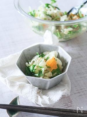 ごま油香る♩みかんとわさび菜の粒マスタードサラダ